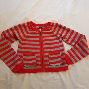 red & grey striped zip up sweater